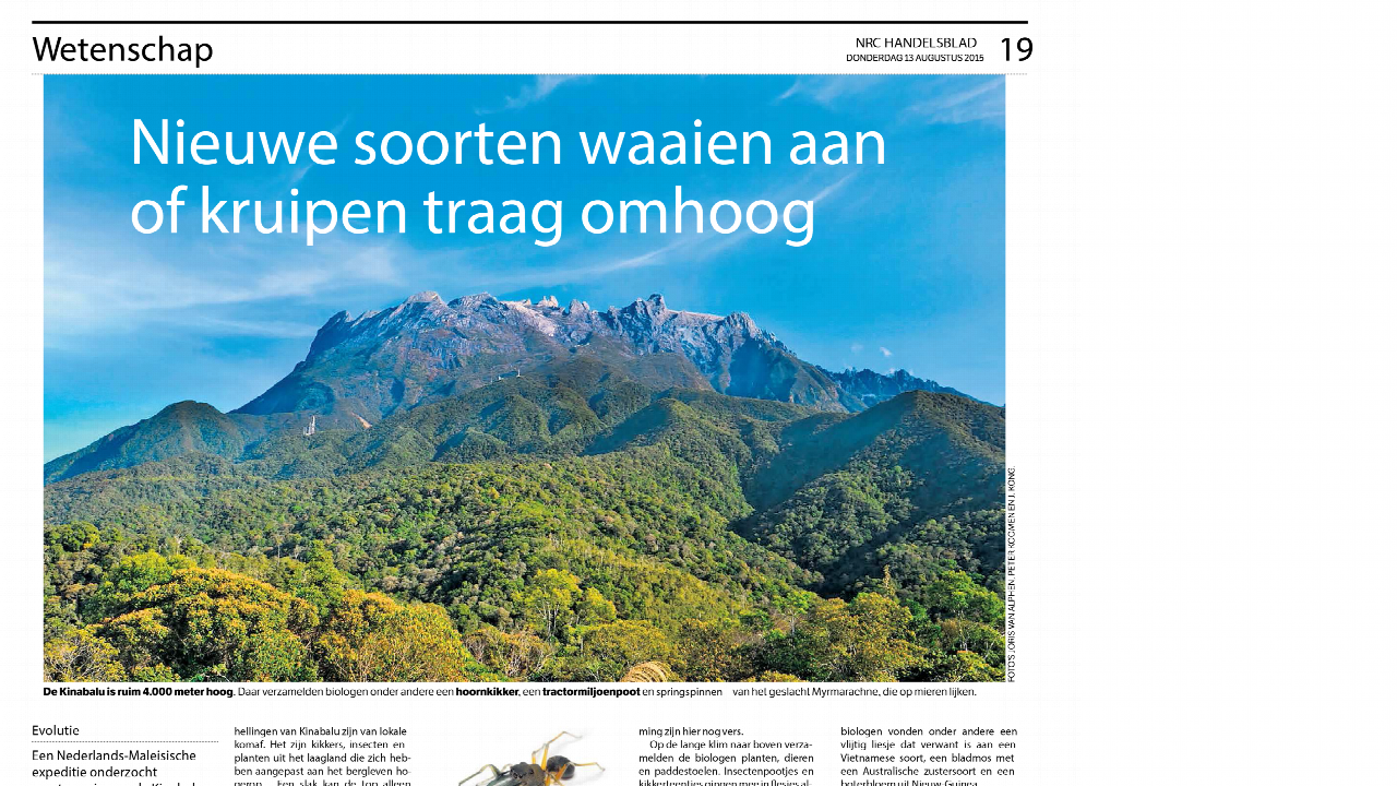 NRC Handelsblad coverage of Mount Kinabalu & Crocker Range Expedition 2012
