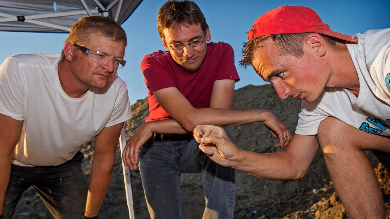 Anne Schulp (middle) and colleagues work on Triceratops bones_photo Marten van DijlKL2