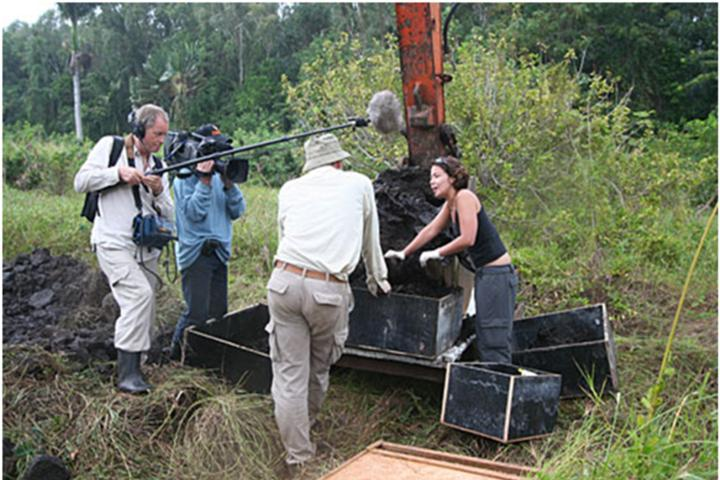 Film crew at dodo excavation