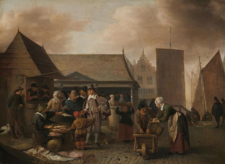 Painting of fish market